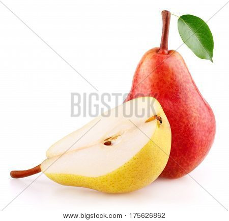 Red Pear Fruit With Leaf And Half Of Yellow Pear