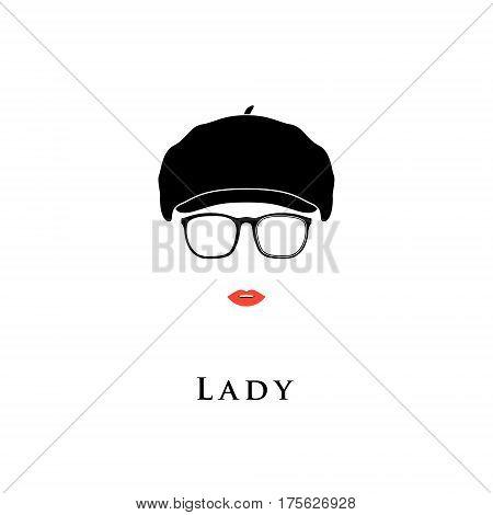Lady in vintage beret and glasses. Vector illustration.