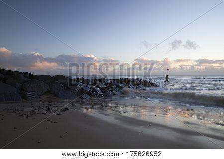 Sunrise on Southwold Beach in Suffolk England
