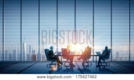 Business People Discussion Brainstorming Teamwork Concept. Vector illustration