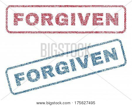 Forgiven text textile seal stamp watermarks. Blue, red fabric vectorized texture. Vector tag inside rounded rectangular banner. Rubber sign with fiber textile structure.