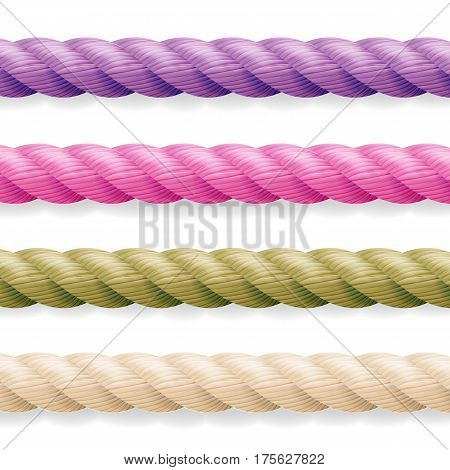 Realistic Rope Vector. Different Color Thickness 3d Rope Line Set Multicolored Twisted Nautical Cord. Isolated On White Background.