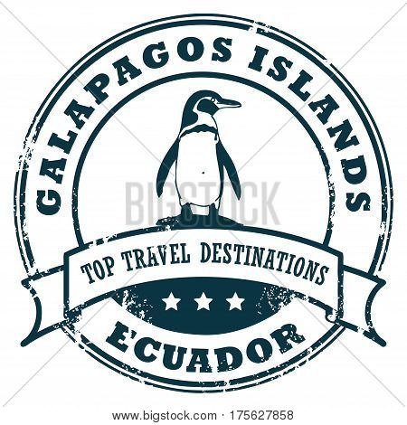 Grunge rubber stamp with the Galapagos Island