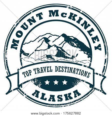 Grunge rubber stamp with the Mount McKinley, Alaska