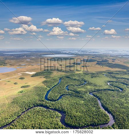Aerial view the marshy terrain with river and lakes in summer day.