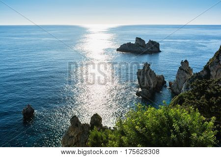 Beautiful seascape of Paleokastrica coast Corfu Greece