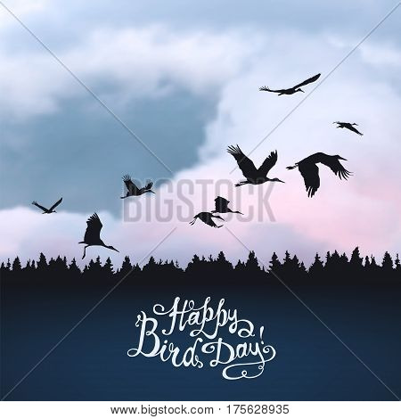 Happy Bird day! Hand written inscription. Storks silhouettes on sunset sky