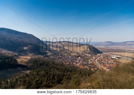 Aerial view of the Deva city from the citadel
