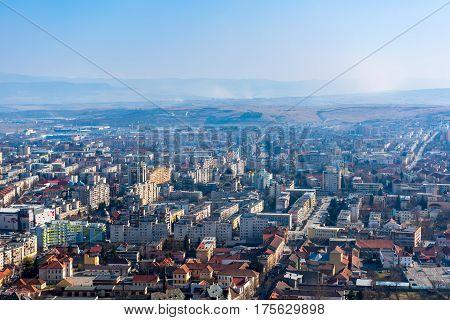 aerial panoramic view of the city Deva from Romania