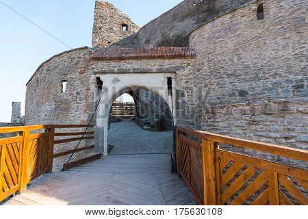 The gate of the Deva fortress , an old medieval fortress