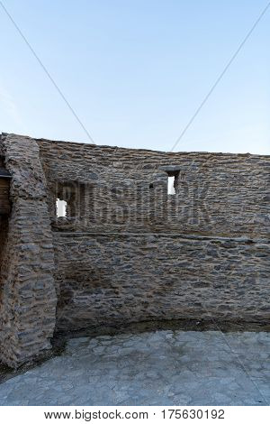Wall of the old medieval fortress  in Deva