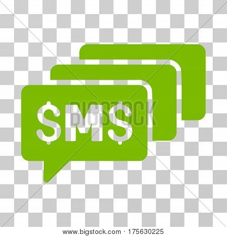 SMS Messages icon. Vector illustration style is flat iconic symbol, eco green color, transparent background. Designed for web and software interfaces.