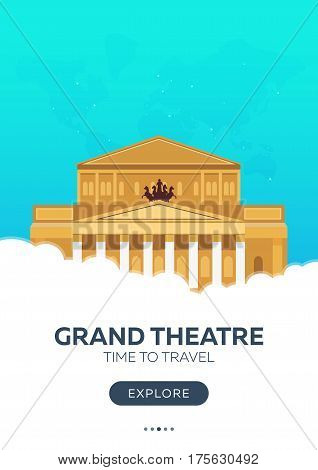 Russia. Moscow. Grand Theatre. Time To Travel. Travel Poster. Vector Flat Illustration.