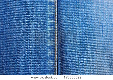 Denim Texture with vertical seam . Blank backdrop