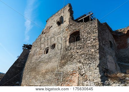 Old medieval walls of the Deva citadel from Romania
