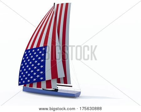 Sailboat With Sail Colored As American Flag