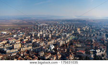 Deva, Romania , March 4, 2017 aerial panoramic view of the city Deva from Romania