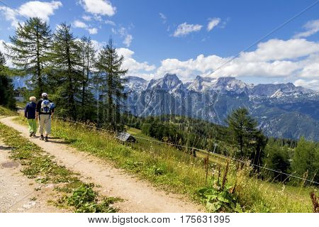 hikers in austrian mountains