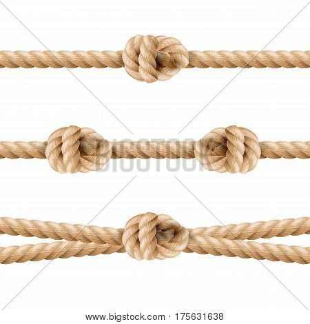 Realistic Rope Line Eith Knot. Yellow Twisted Ropes Set, Isolated On White Background. Vector