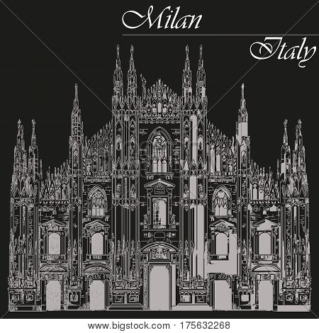 Famous Milan Cathedral on piazza in Milan Italy. Graphic hand drawing illustration. Vector isolated on a black background.