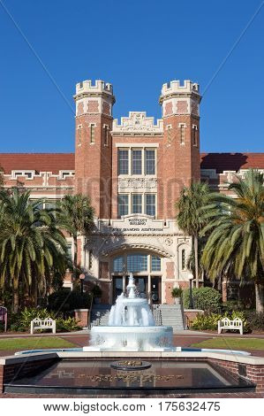 TALLAHASSEE FLORIDA - FEBRUARY 11 2017: The administration Westcott Building at Florida State University in Tallahassee Florida USA on February 11 2017.