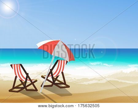 Summer background vector illustration of the day at the beach with sea waves ans sun shining seaside view with copyspace. Two deck chairs and umbrella at seaside