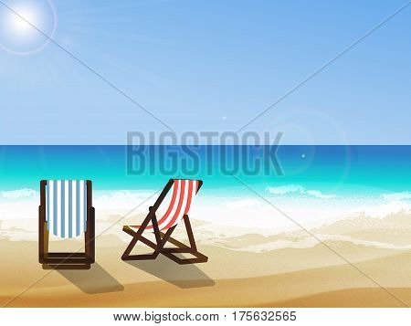 Summer background vector illustration of the day at the beach with sea waves ans sun shining seaside view with copyspace. Two deck chairs at seaside