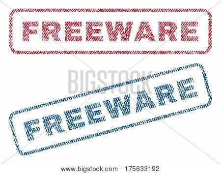 Freeware text textile seal stamp watermarks. Blue, red fabric vectorized texture. Vector caption inside rounded rectangular banner. Rubber emblem with fiber textile structure.