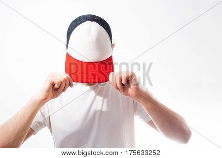 The Man, Guy In The Blank White, Red Baseball Cap,  On A White Background, Mock Up, Free Space, Logo