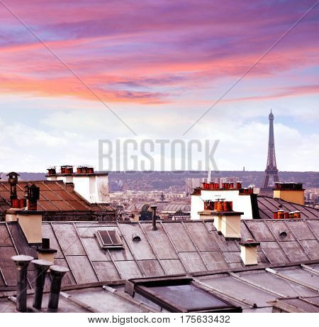 Paris skyline aerial from Montmartre in France