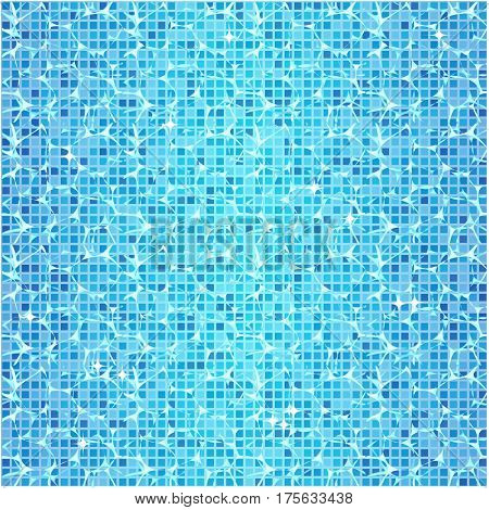 Textured abstract background with clear blue water in the pool. Mosaic floor. Vector image