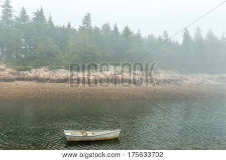A morning fog lays over the Schoodic Peninsula at Acadia National Park in Maine.