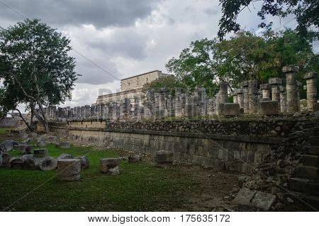 Group Of A Thousand Columns And Temple Of The Warriors, Chichen-itza, Mexico