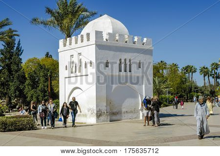 Marrakesh Morocco - March 4 2017: Kubba Fatima Zohra Next to the Koutoubia Mosque the largest in Marrakech. Djemaa EL Fna square