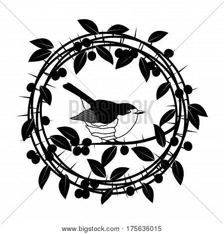 Vector Blackthorn berries branches and leaves frame. Illustrations vintage design