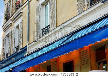 Montmartre place du Tertre Paris facades in the painters barrio of france