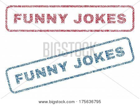 Funny Jokes text textile seal stamp watermarks. Blue, red fabric vectorized texture. Vector tag inside rounded rectangular banner. Rubber emblem with fiber textile structure.