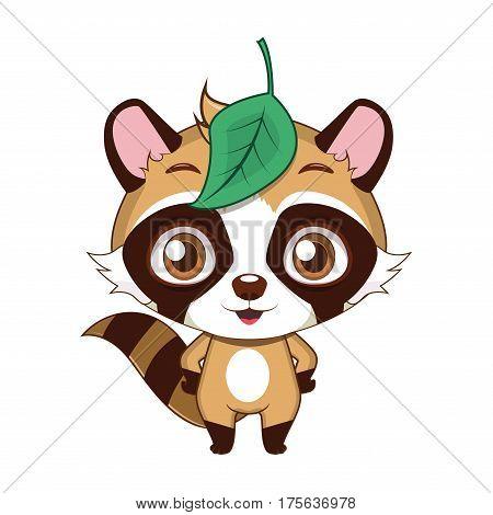 Cute stylized cartoon raccoon dog illustration ( for fun educational purposes, illustrations etc. )