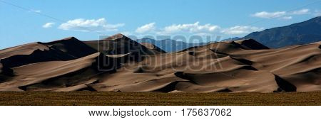 The beautiful expanse of sands and shadows at the Great Sand Dunes National Park in southern Colorado near Alamosa