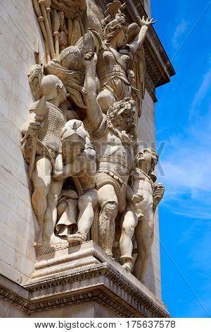 Arc de Triomphe in Paris Arch of Triumph detail at France