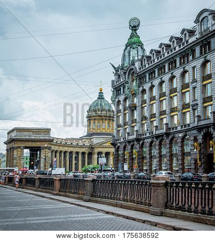Kazan Cathedral Church and Singer's House in St. Petersburg at the Griboedov Canal.