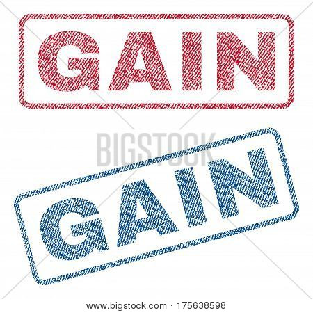 Gain text textile seal stamp watermarks. Blue, red fabric vectorized texture. Vector caption inside rounded rectangular banner. Rubber emblem with fiber textile structure.