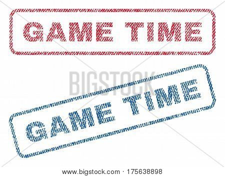 Game Time text textile seal stamp watermarks. Blue, red fabric vectorized texture. Vector caption inside rounded rectangular shape. Rubber emblem with fiber textile structure.