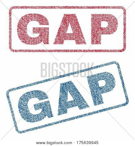 Gap text textile seal stamp watermarks. Blue, red fabric vectorized texture. Vector caption inside rounded rectangular banner. Rubber emblem with fiber textile structure.
