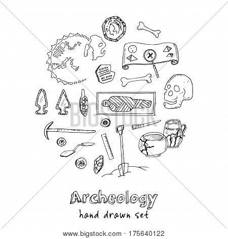 Archeology hand drawn sketch set of paleontological and archaeological ancient finds vector illustration