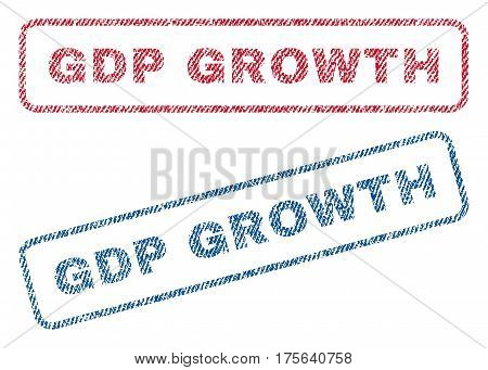 GDP Growth text textile seal stamp watermarks. Blue, red fabric vectorized texture. Vector tag inside rounded rectangular banner. Rubber sign with fiber textile structure.