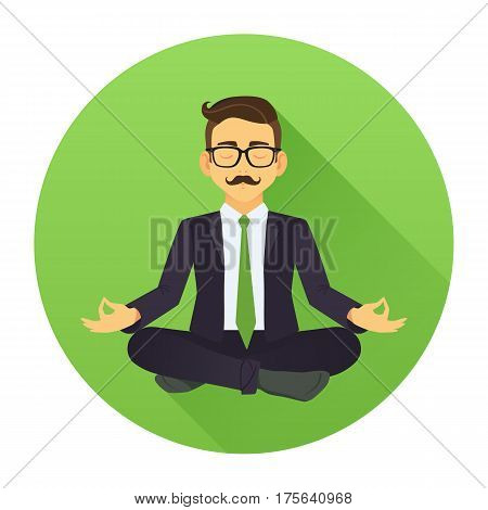 Vector Illustration Of Businessman Sitting In Lotus Pose. Meditating Office Worker On Greenery Trend