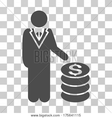 Businessman icon. Vector illustration style is flat iconic symbol gray color transparent background. Designed for web and software interfaces.