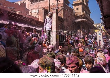 Mathura, India. March 23, 2016. Holi celebration on the streets of Vrindavan, Uttar Pradesh, India.