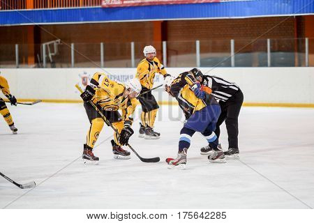 Moscow, Russia - January, 22, 2017: Amateur hockey league LHL-77. Game between hockey team